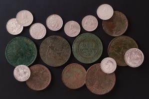 Pocket full of pre-decimal coins