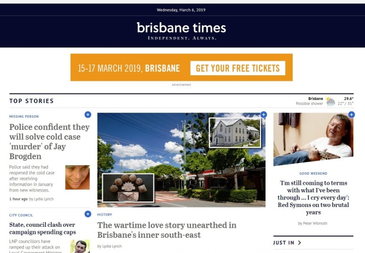 190306 Brisbane Times - The wartime love story unearthed in Bulimba