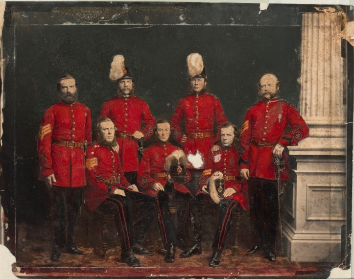 J J Clark - second from left at rear - as an officer of the Victorian Volunteer Engineers 1861 - SMALL