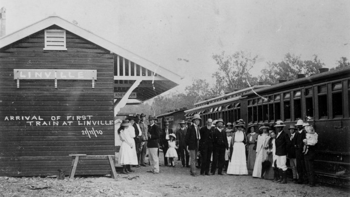 First train at Linville - John Oxley Library State Library of Queensland 21 November 1910 - wide