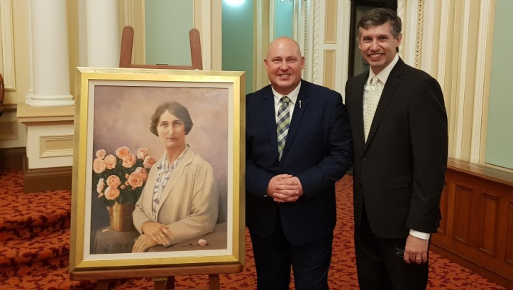 Portrait of Irene Longman, speaker Curtis Pitt, Harold Peacock