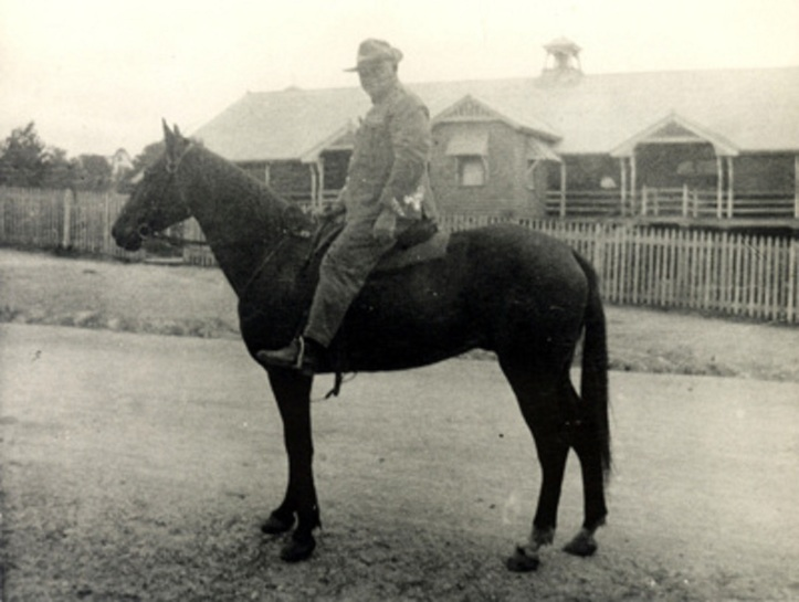 Sergeant Ed Creedy on troophorse Bantam 1930 - Queensland Police Museum