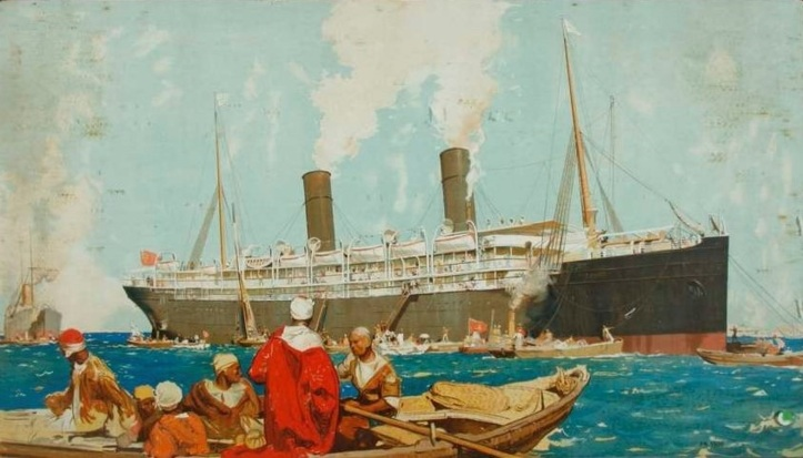 Ophir in the Suez Canal by Frank Brangwyn 1900 - ANMM Collection - Copyright David Brangwyn (2)