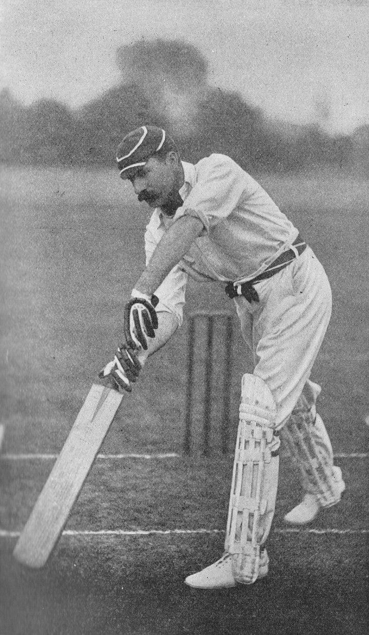 AE Stoddart's forward-drive nearing the finish - 1897 -KS Ranjitsinhji The Jubilee Book of Cricket Third Edition - photo by E. Hawkins Co Brighton